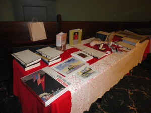 Some of the silent auction items at the St. Joseph Day Dinner.