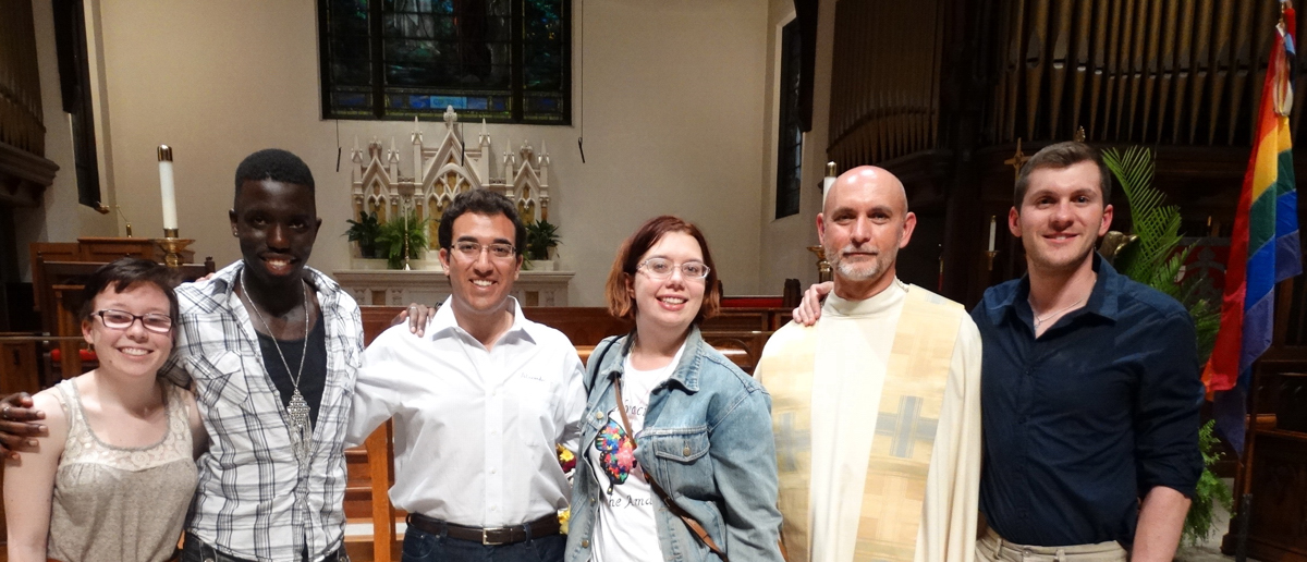 Some of the students who attended the Dignity/Washington Baccalaureate Mass on May 12 were:  Mallory Hytrek, Anthony O'Tapi, Alex Martone, Ruthie Shipps, Father Tim MacGeorge who presided, and Kenneth Dowling who served on the organizing committee.