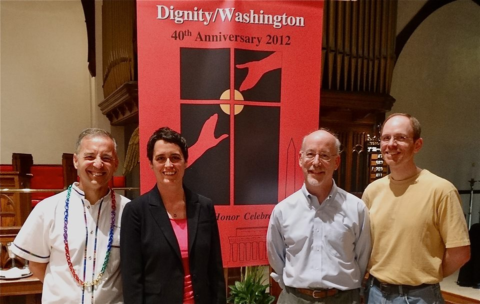 From left to right:  Dan Barutta, Dignity/Washington President, Maryland State Delegate, Heather Mizeur (D-Montgomery County), Jake Hudson, Dignity/Washington Board member, and Chris Hinkle, Dignity/Washington Liturgy Committee member and out-going Chair