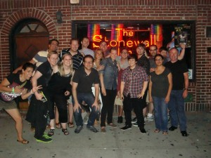 Dignity USA Young Adult Caucus in front on Stonewall Inn, NYC, July 2012.