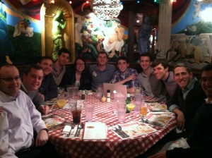 The YAG loves to eat at Bucca di Beppo across the street from church.