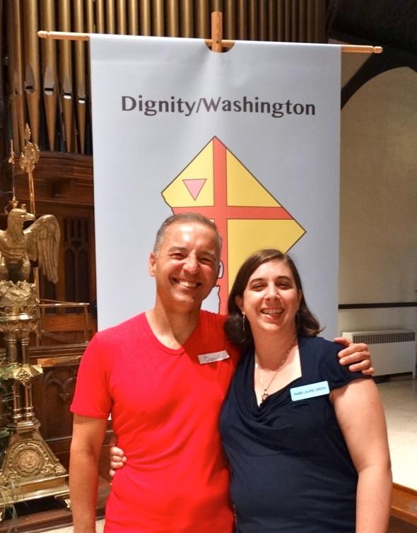 Dan Barutta, President of Dignity/Washington with guest preacher Rabbi Laurie Green on Pentacost Sunday