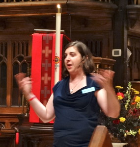Rabbi Laurie Green delivers the sermon on Pentecost Sunday at Dignity/Washington