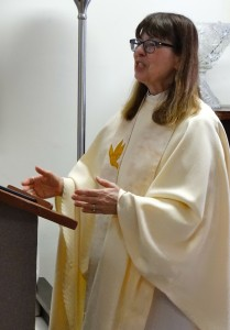 Rev. Ann Penick delivering her homily for the Feast of the Immaculate Heart of Mary, June 28, 2014 at the Dignity Center in Washington DC