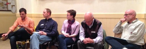 Dignity/Washington member panelists listen to panelist Martin Witchger at the January 12, 2014 Community Discussion.