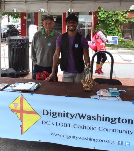 Jim Sweeney (L) and Brian Brown staffed Dignity/Washington's information booth at the 17th Street Festival held on Saturday, September 13, 2014.