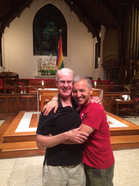 Retiring Dignity/Washington Office Manager Rick Lynch (L) with Dignity/Washington President Daniel Barutta at St. Margaret's Church