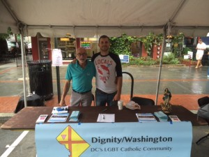 Tom Bower (L) and Kenneth Dowling staffed Dignity/Washington's information booth at the 17th Street Festival held on Saturday, September 13, 2014.