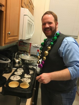 Our Mardi Gras party included pancakes in honor of the English tradition of Shrove Tuesday.